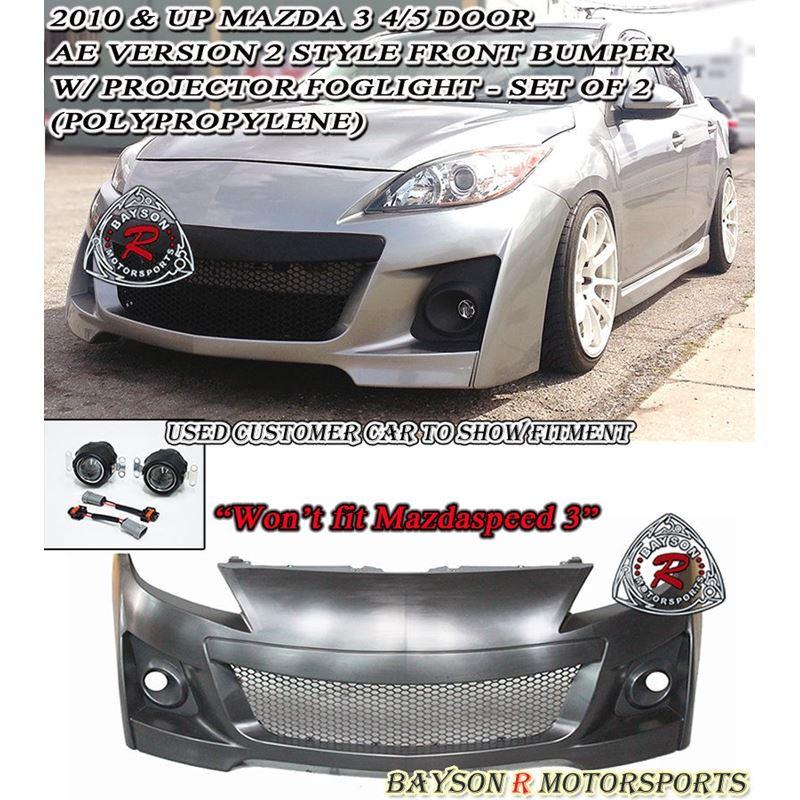 AE V2-Style Front Bumper + Fog Lights Fits 10-13 M
