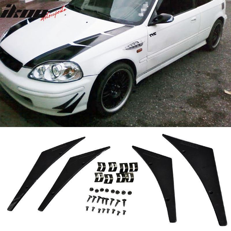 Universal Front Bumper Lip Kit Splitter Fins Body